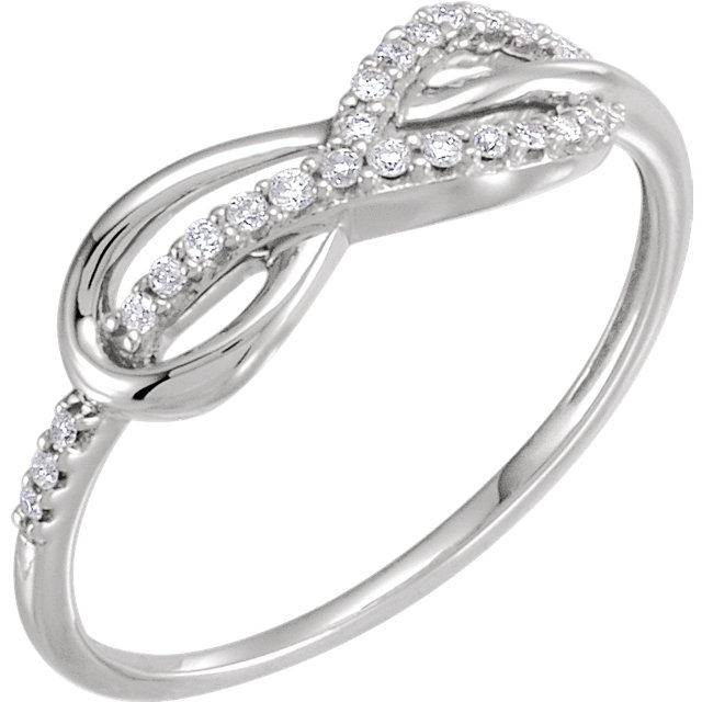 Easy Gift in 14 Karat White Gold 0.10 Carat Total Weight Diamond Infinity-Inspired Knot Ring