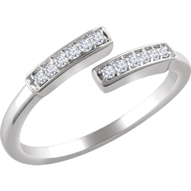 Buy Real 14 KT White Gold 0.10 Carat TW Diamond Negative Space Bar Ring