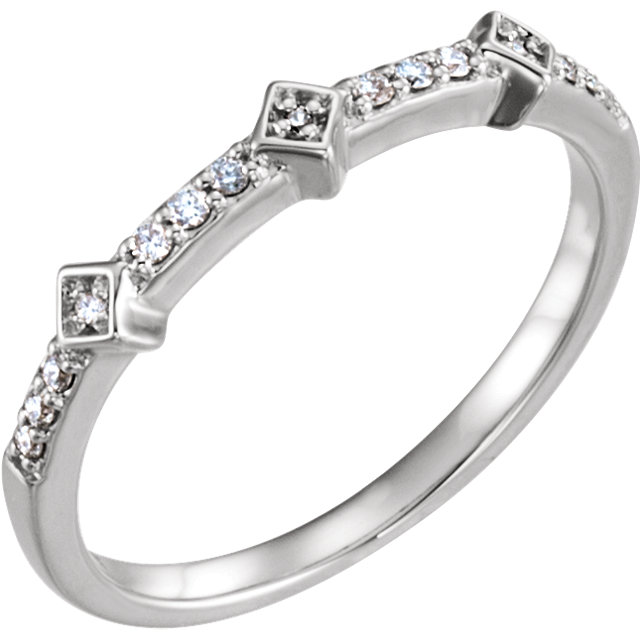 Surprise Her with  14 Karat White Gold 0.10 Carat Total Weight Diamond Stackable Ring