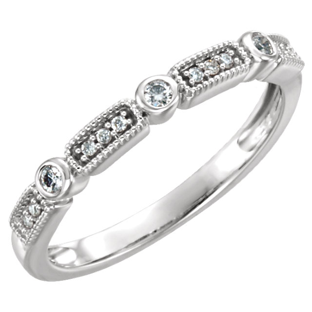 Appealing Jewelry in 14 Karat White Gold 0.10 Carat Total Weight Diamond Stackable Ring