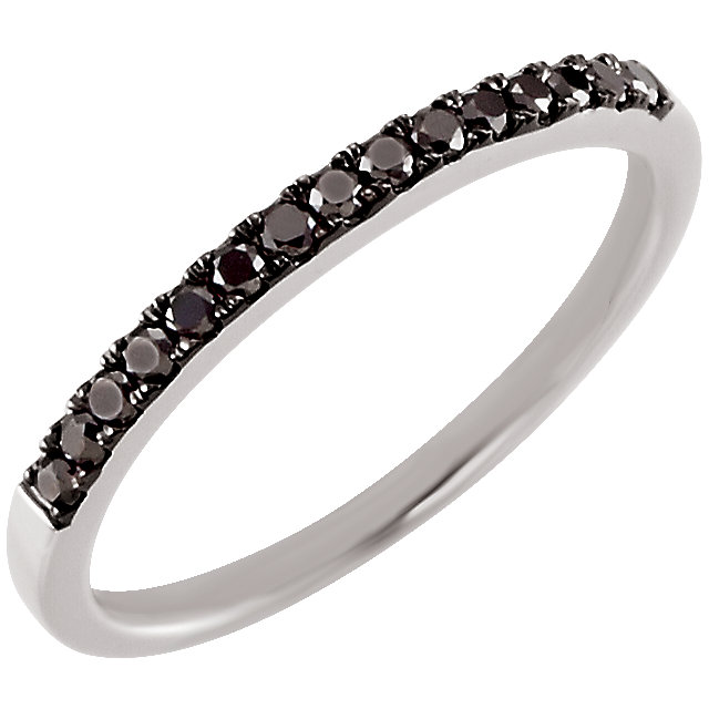 Low Price on Quality 14 KT White Gold 0.20 Carat TW Black Diamond Band