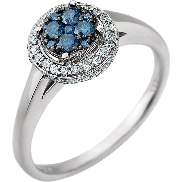 Stylish 14 KT White Gold 3/8 Carat TW Blue & White Round Genuine Diamond Ring