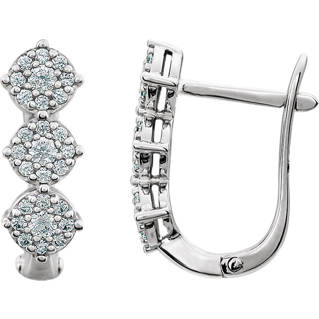 Great Buy in 14 Karat White Gold 0.50 Carat Total Weight Diamond 3-Stone Earrings