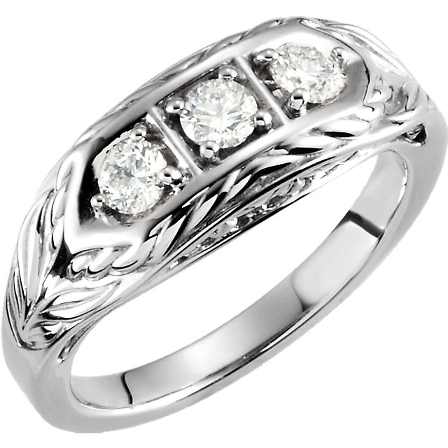 14 KT White Gold 0.50 Carat TW Diamond 3-Stone Ring