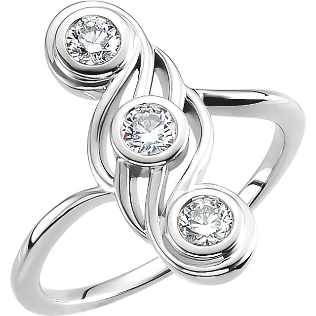 Perfect Gift Idea in 14 Karat White Gold 0.50 Carat Total Weight Diamond Three-Stone Ring