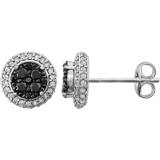 Surprise Her with  14 Karat White Gold 0.50 Carat Total Weight Diamond Black & White Halo-Style Earrings