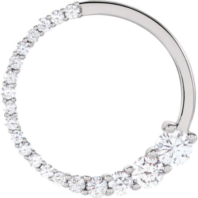 Perfect Gift Idea in 14 Karat White Gold 0.50 Carat Total Weight Diamond Circle Journey Pendant