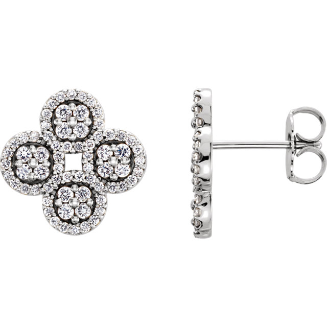 Great Deal in 14 Karat White Gold 0.50 Carat Total Weight Diamond Clover Earrings
