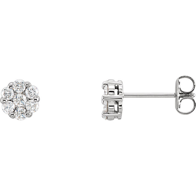 Great Buy in 14 Karat White Gold 0.50 Carat Total Weight Diamond Cluster Earrings