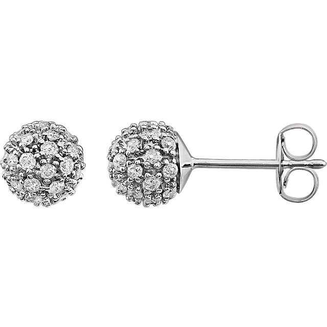 Perfect Jewelry Gift 14 Karat White Gold 0.50 Carat Total Weight Diamond Cluster Earrings