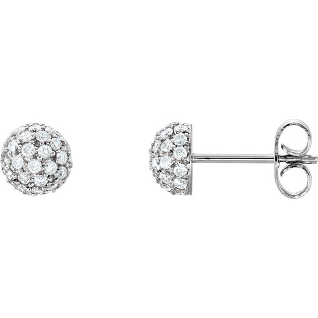 Fine Quality 14 Karat White Gold 0.50 Carat Total Weight Diamond Earrings