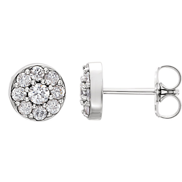 Must See 14 Karat White Gold 0.50 Carat Total Weight Diamond Earrings