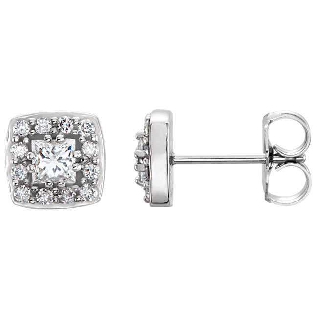 Graceful 14 Karat White Gold 0.50 Carat Total Weight Square Genuine Diamond Earrings