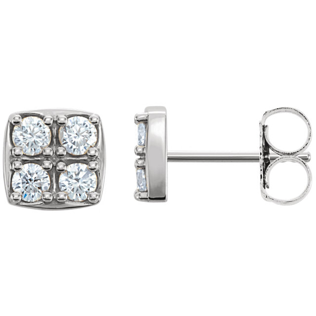 Great Gift in 14 Karat White Gold 0.50 Carat Total Weight Diamond Earrings