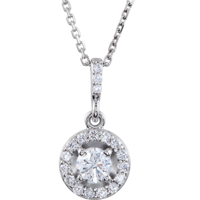 Perfect Gift Idea in 14 Karat White Gold 0.50 Carat Total Weight Diamond Halo-Style 18