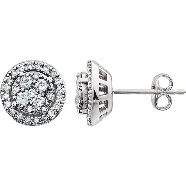 Contemporary 14 Karat White Gold 0.50 Carat Total Weight Diamond Halo-Style Cluster Earrings
