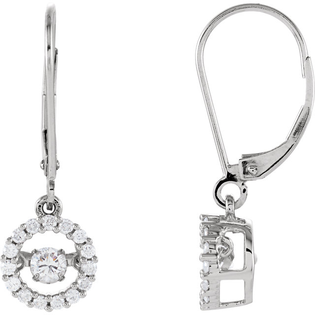 Striking 14 Karat White Gold 1/2 Carat Total Weight Round Genuine Diamond Halo-Style Mystara Earrings