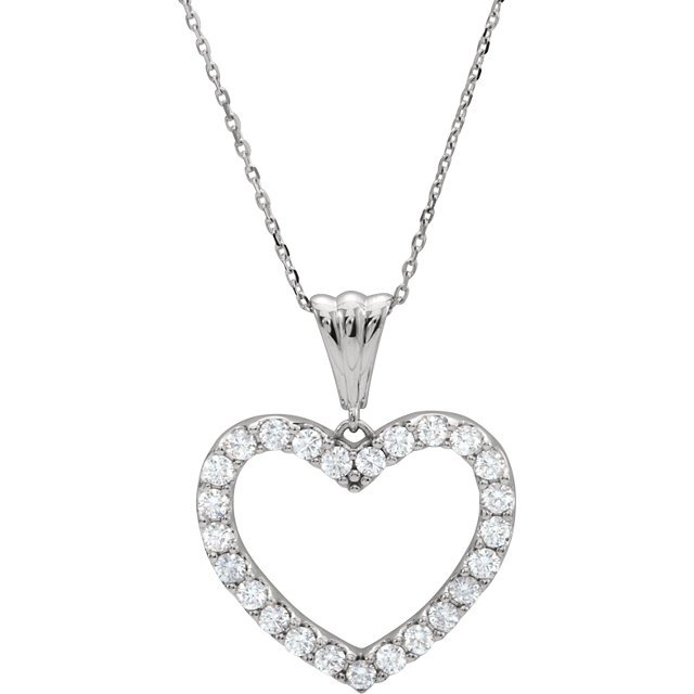 14 KT White Gold 1/2 Carat Total Weight Diamond Heart 18
