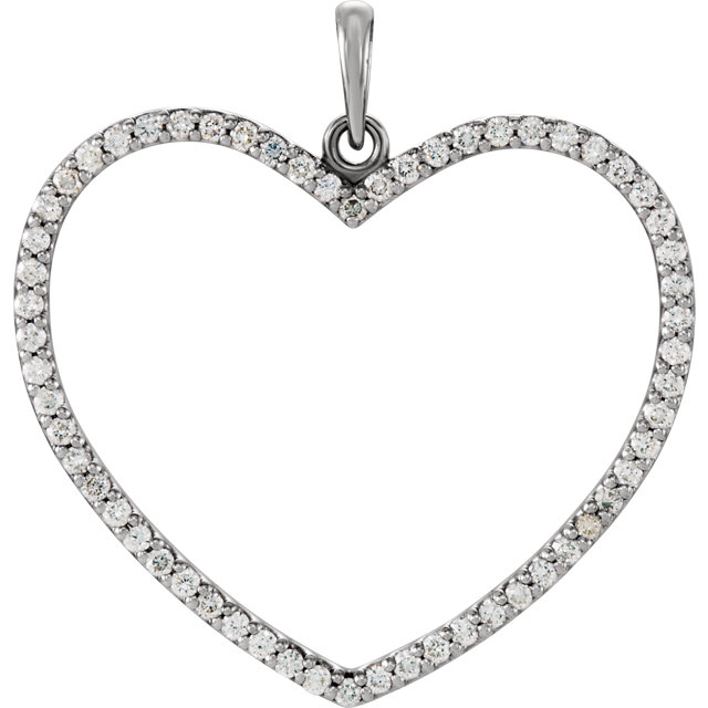Surprise Her with  14 Karat White Gold 0.50 Carat Total Weight Diamond Heart Pendant