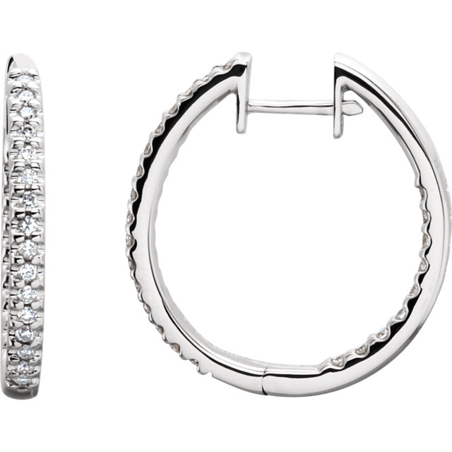 Eye Catchy 14 Karat White Gold 0.50 Carat Total Weight Diamond Hinged Inside-Outside Hoop Earrings