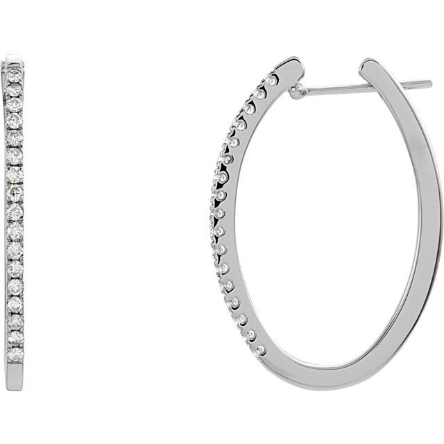 Great Gift in 14 Karat White Gold 0.50 Carat Total Weight Diamond Hoop Earrings