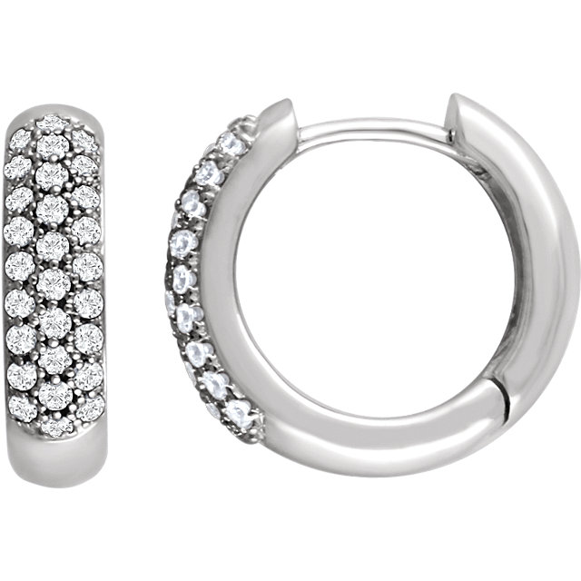 Stunning 14 Karat White Gold 0.50 Carat Total Weight Diamond Hoop Earrings