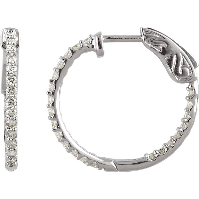 Contemporary 14 Karat White Gold 0.50 Carat Total Weight Diamond Inside/Outside Hoop Earrings