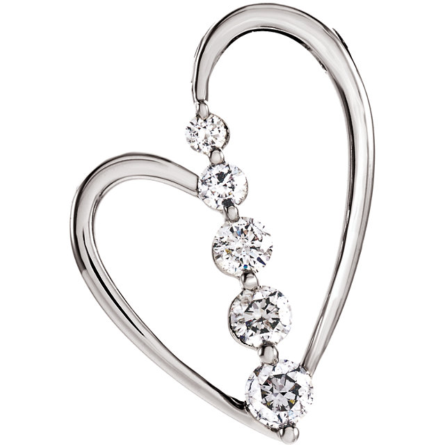 Great Buy in 14 Karat White Gold 0.50 Carat Total Weight Diamond Journey Heart Pendant