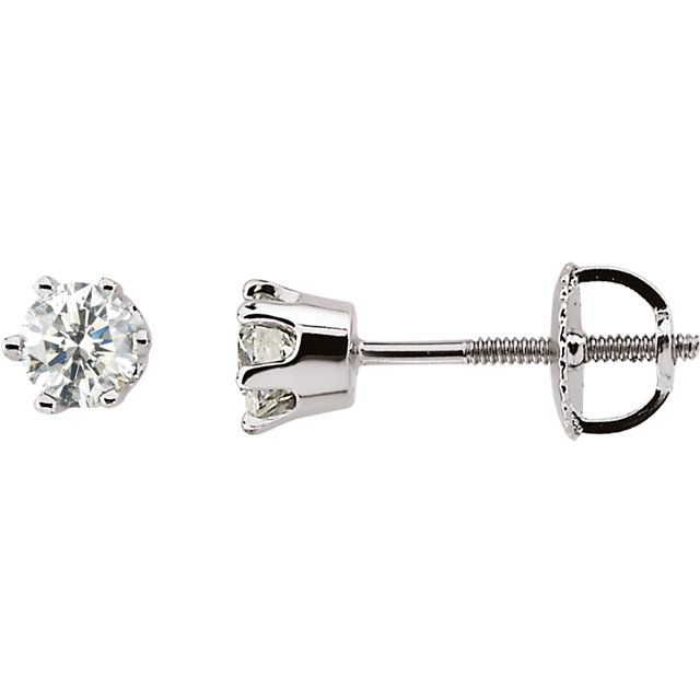 Beautiful 14 Karat White Gold 0.50 Carat Total Weight Diamond Threaded Post Stud Earrings