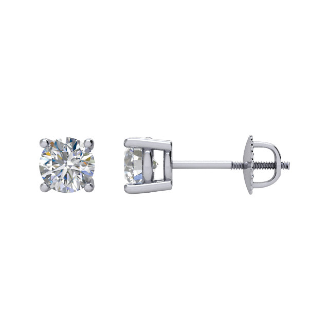 Must See 14 Karat White Gold 0.50 Carat Diamond Threaded Post Stud Earrings