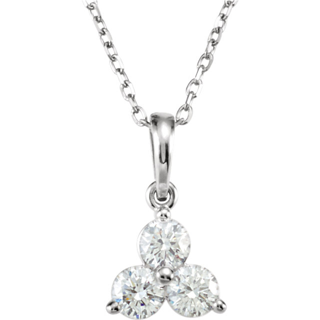 Great Gift in 14 Karat White Gold 0.50 Carat Total Weight Diamond Three-Stone 18