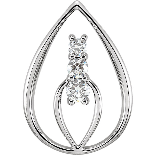Perfect Gift Idea in 14 Karat White Gold 3-Stone Pendant Mounting