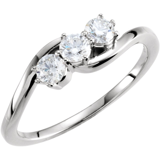 Shop Real 14 KT White Gold 0.50 Carat TW Diamond Three-Stone Ring