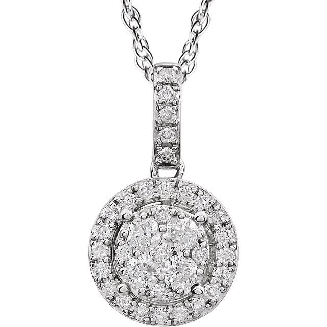 14 KT White Gold 0.50 Carat TW Halo-Style Diamond 18