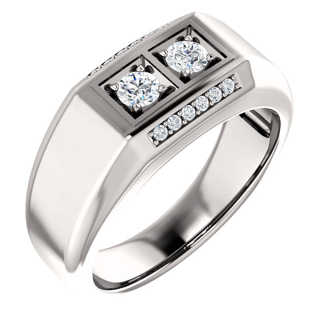 14 Karat White Gold 0.40 Carat Men's Diamond Ring