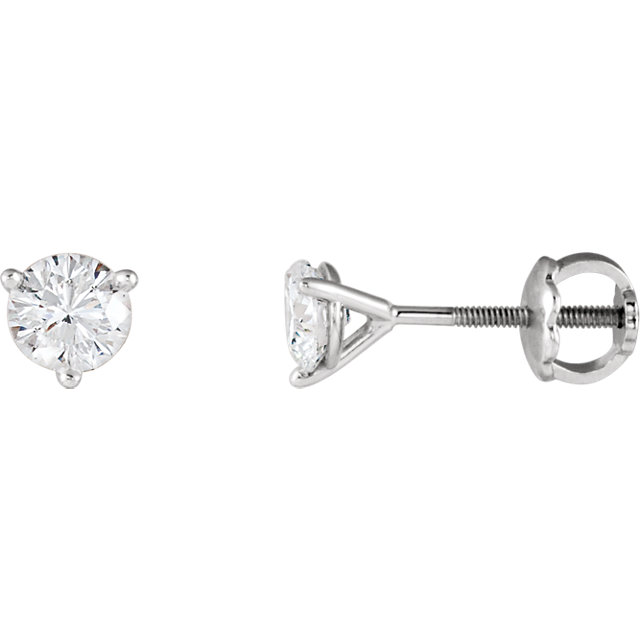 Must Have 14 KT White Gold 1/2 Carat TW Riente Round Genuine Diamond Stud Earrings