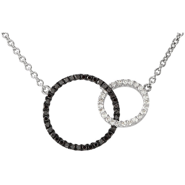 Buy 14 Karat White Gold 0.33 Carat Black & White Diamond Circle 18