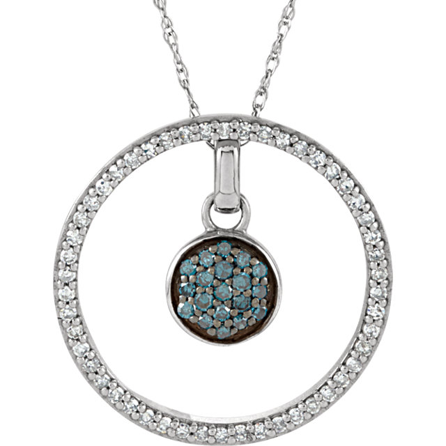 Perfect Jewelry Gift 14 Karat White Gold 0.33 Carat Total Weight Blue & White Diamond 3-in-1 Circle 18