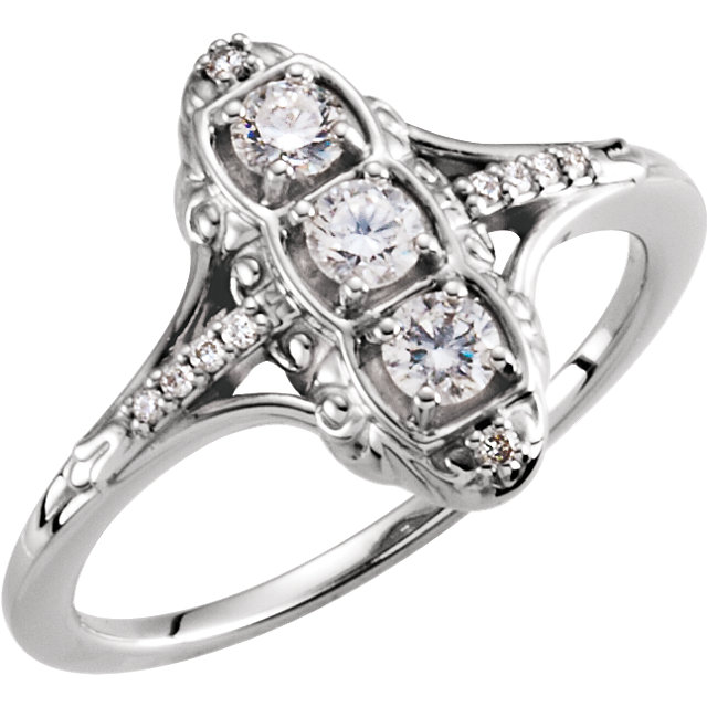Shop Real 14 KT White Gold 0.33 Carat TW Diamond 3-Stone Ring