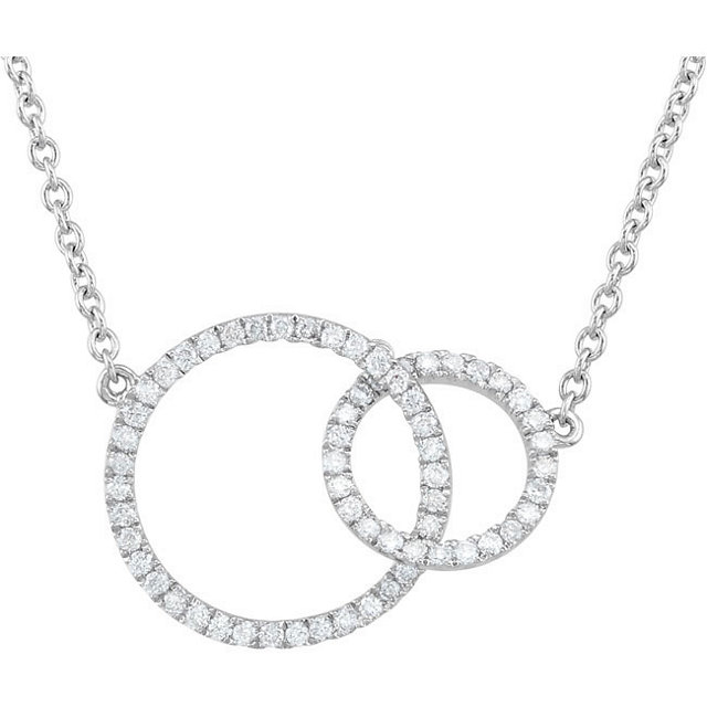Surprise Her with  14 Karat White Gold 0.33 Carat Total Weight Diamond Circle 18