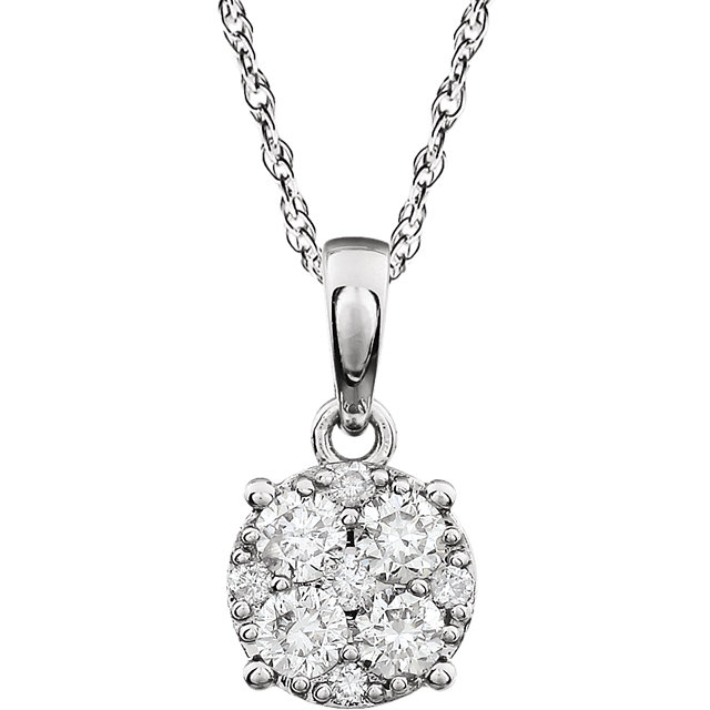 Shop 14 KT White Gold 0.33 Carat TW Diamond Cluster 18