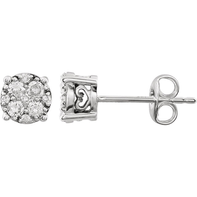 Chic 14 Karat White Gold 0.33 Carat Total Weight Diamond Cluster FriCaration Post Earrings