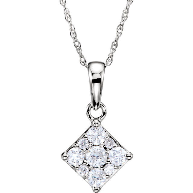 Amazing 14 Karat White Gold 1/3 Carat Total Weight Round Genuine Diamond Cluster Necklace
