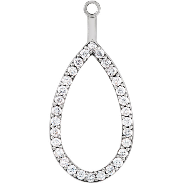 Perfect Gift Idea in 14 Karat White Gold Teardrop Halo-Style Earring Jacket Mounting