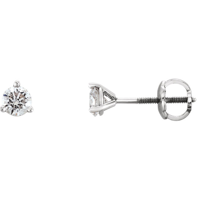 Easy Gift in 14 Karat White Gold 0.33 Carat Total Weight Diamond Earrings