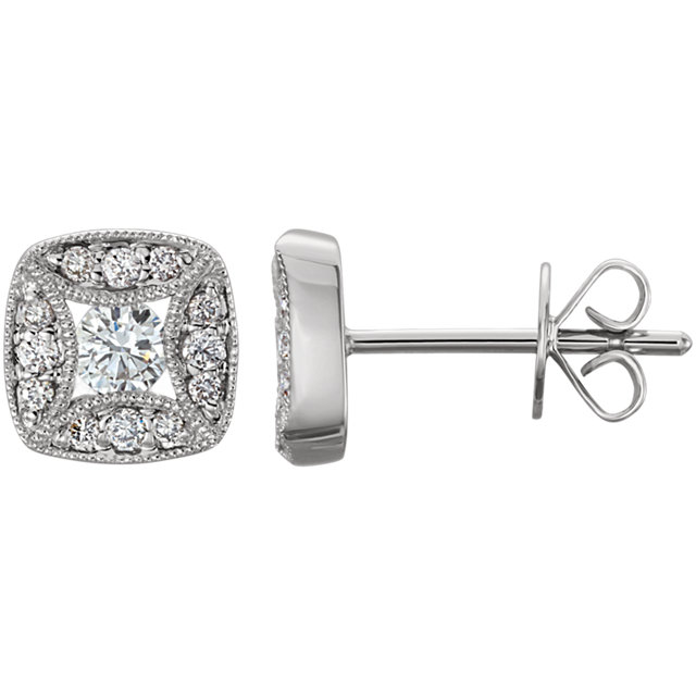 Contemporary 14 Karat White Gold 0.33 Carat Total Weight Diamond Earrings