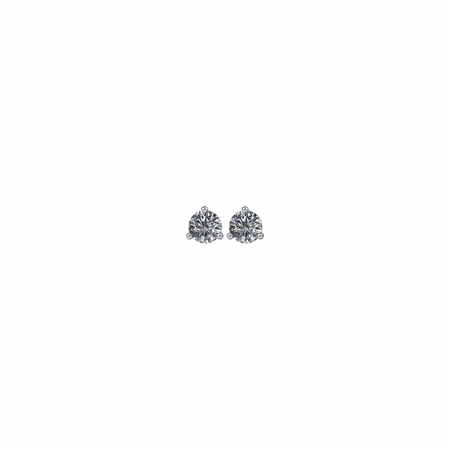 14 KT White Gold 1/3 Carat Total Weight Diamond Friction Post Stud Earrings
