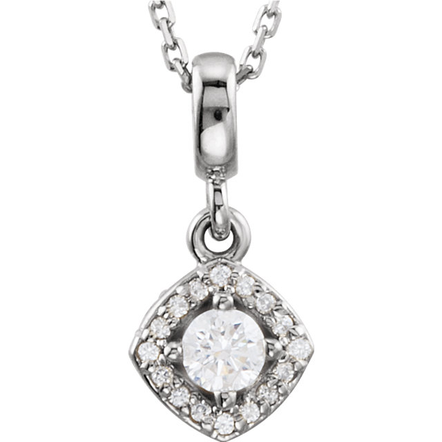 Gorgeous 14 Karat White Gold 0.33 Carat Total Weight Diamond Halo-Style 18