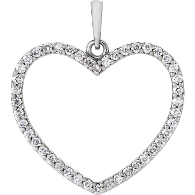 Stunning 14 Karat White Gold 1/3 Carat Total Weight Round Genuine Diamond Heart Pendant