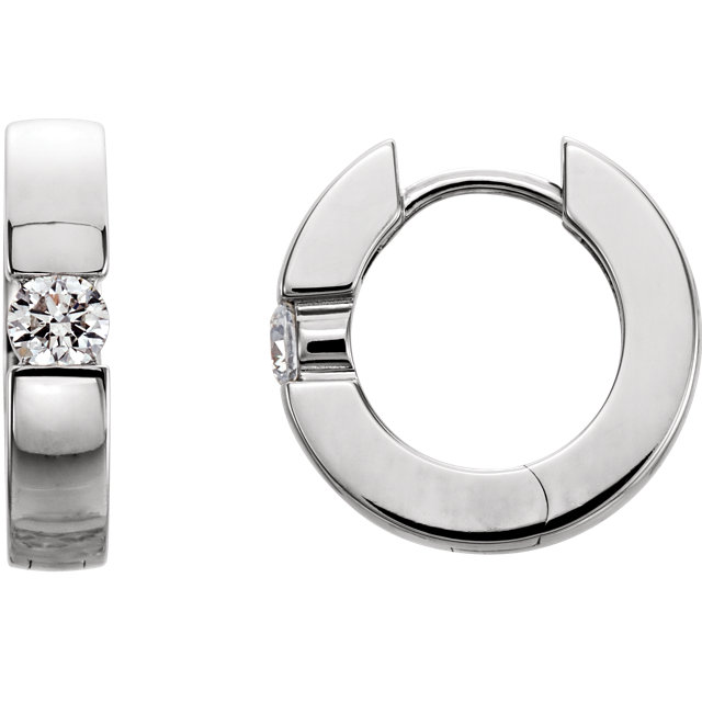 Perfect Gift Idea in 14 Karat White Gold 0.33 Carat Total Weight Diamond Hinged Hoop Earrings